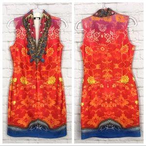 Venus Boho Plunging VNeck Bling Sleeveless Dress M